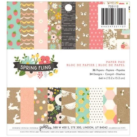 Набор односторонней бумаги 15х15 см  Pebbles - Spring Fling