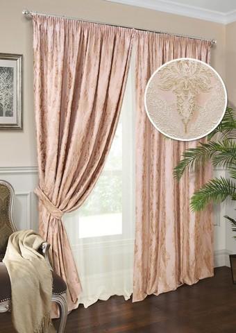 Комплект штор Эвита жаккард розовый с подхватами и тюлем
