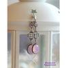 """Винтажный декоративный элемент - коннектор """"Клевер"""" (1-1) 17х12 мм (оксид серебра) (Серьги """"Розовый опал"""". Пример)"""