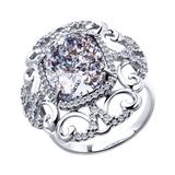 Кольцо из серебра с фианитами и кристаллом Swarovski