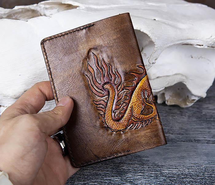 BC165 Кожаная обложка на паспорт с китайским драконом фото 07