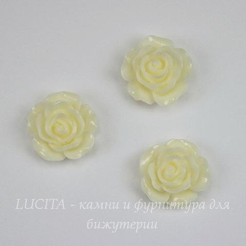 """Кабошон акриловый """"Роза"""", цвет - кремовый, 14 мм"""
