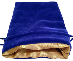 Синий бархатный мешочек для кубиков с золотой атласной подкладкой