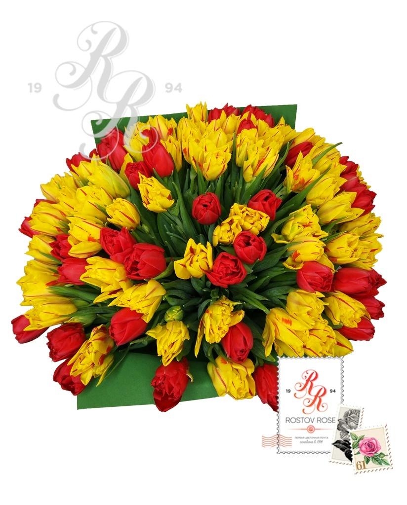 25 пионовидный красно-желтый микс