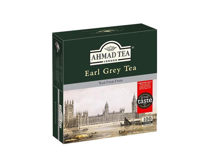 Чай черный с бергамотом в пакетиках Ahmad Tea Earl grey, 100 пак/уп