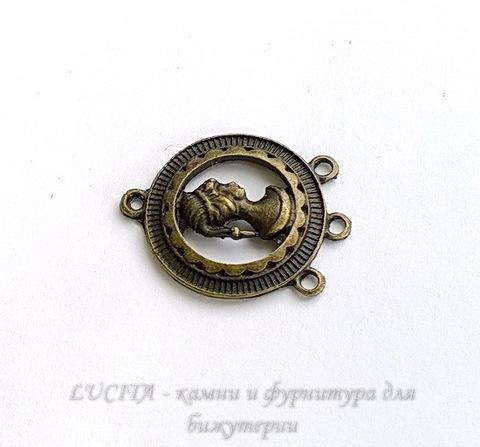 "Коннектор ""Девушка"" (1-3) 32х25 мм (цвет - античная бронза) (WP_20140603_13_04_34_Pro)"