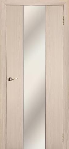 Дверь Дубрава Сибирь Гранд, зеркало с рисунком/молдинг серебро, цвет беленый дуб, остекленная