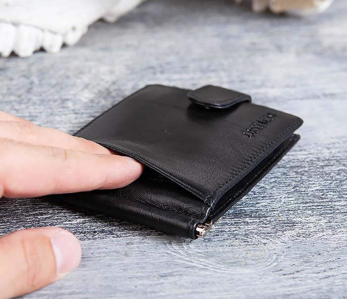 WL308-1 Мужской зажим для денег из черной кожи фото 03