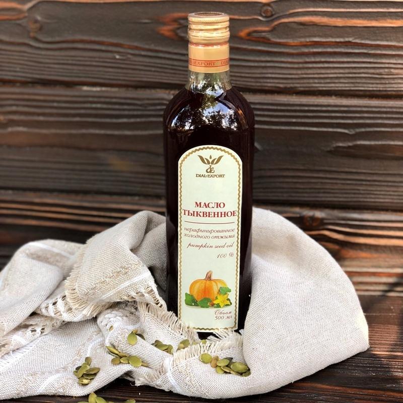 Фотография Масло тыквенное нерафинированное 0,5 литра купить в магазине Афлора