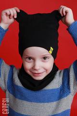041К Шапка-мишка двухслойная с жаккардовой этикеткой. Черная.