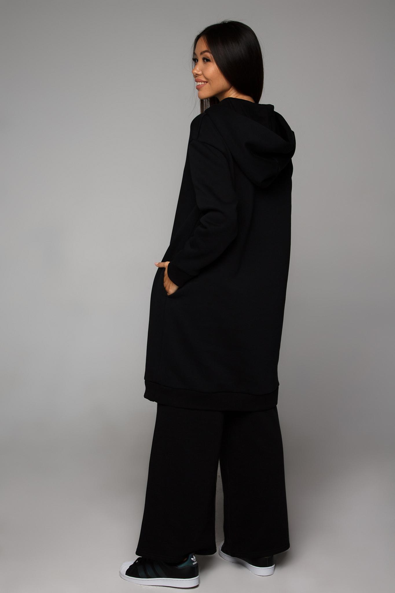 Платье-худи черное с начесом YOS