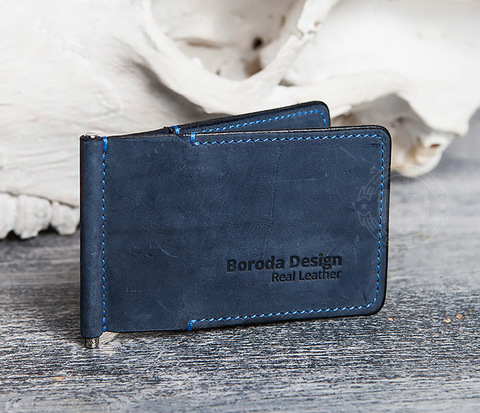 Зажим для денег из натуральной кожи джинсового цвета. «Boroda Design»