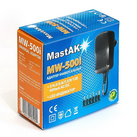 Блок питания MastAK MW-500i (3/4,5/6/7,5/9/12V - 600 mAh)