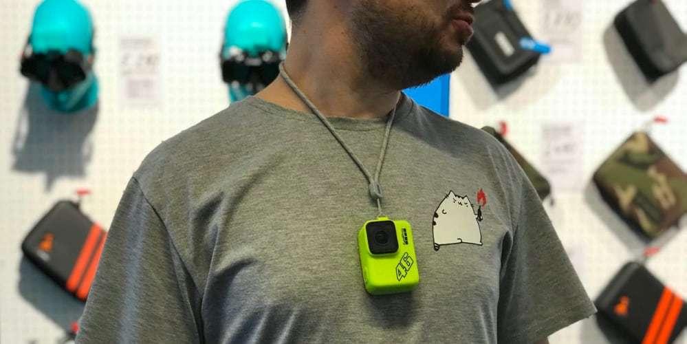 Силиконовый чехол с ремешком GoPro (желтый) на шее