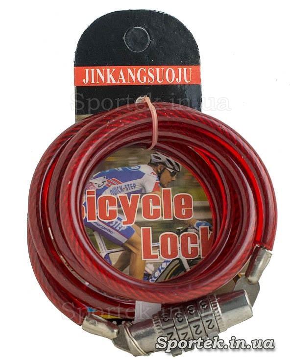 Велозамок с кодом на стальном тросе 6 х 1130 мм с виниловым покрытием красного цвета