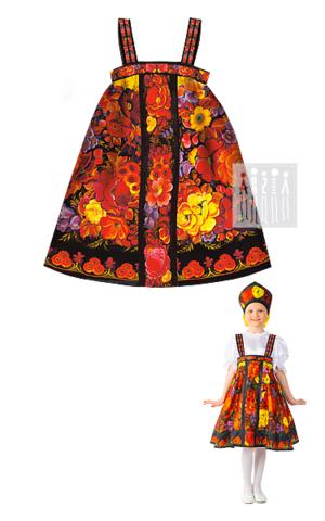 Фото Жостово сарафан народный рисунок Детские народные костюмы для этнических фестивалей, национальных праздников и театрализованных представлений.