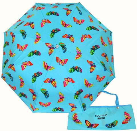 Купить онлайн Зонт складной Moschino 7078-P Butterflies azurro в магазине Зонтофф.