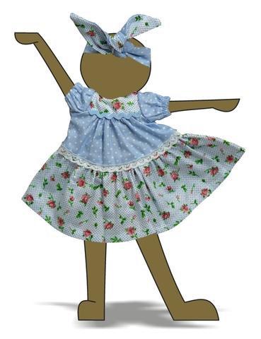Платье горох и цветы - Демонстрационный образец. Одежда для кукол, пупсов и мягких игрушек.