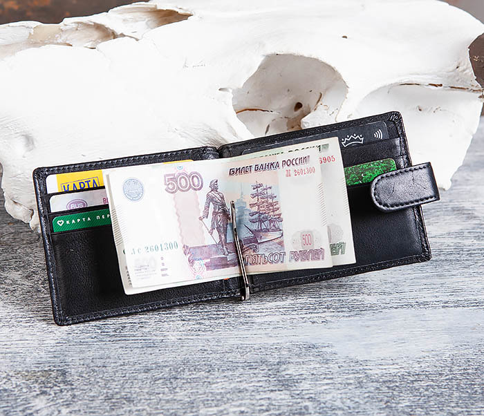 WL308-1 Мужской зажим для денег из черной кожи фото 08
