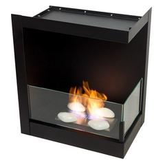 Угловой биокамин Lux Fire 555 M (правый угол) (черные держатели стекол)