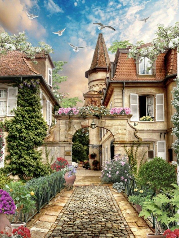 Картина раскраска по номерам 40x50 Пражский дворик (арт ...