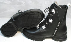 Зимние ботинки женские кожаные на натуральном меху Ripka 3481 Black-White.