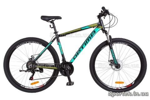Горный мужской алюминиевый велосипед OPTIMABIKES MOTION AM DD - черно-бирюзовый с салатным