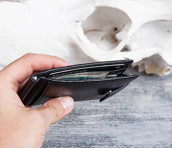 WL308-1 Мужской зажим для денег из черной кожи фото 11