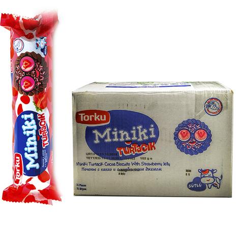 MINIKI Печенье с какао и с клубничным джемом 1кор*1бл*24шт 102гр.