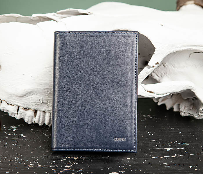 BC217-3 Кожаная обложка для авто документов и карточек «Moriz», синяя
