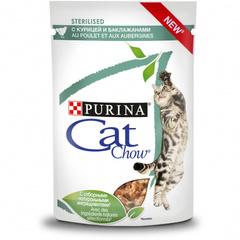 Cat Chow пауч для стерилизованных (с курицей и баклажанами) 85 гр 1 шт