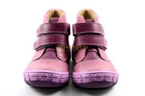 Ботинки Тотто из натуральной кожи на байке демисезонные для девочек, цвет фиолетовый. Изображение 5 из 11.