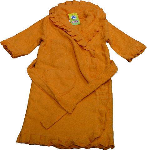 Халат для девочки махровый 5215М оарнжевый