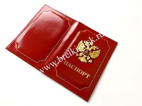 Обложка для паспорта из натуральной гладкой кожи с гербом РФ. Цвет Красный