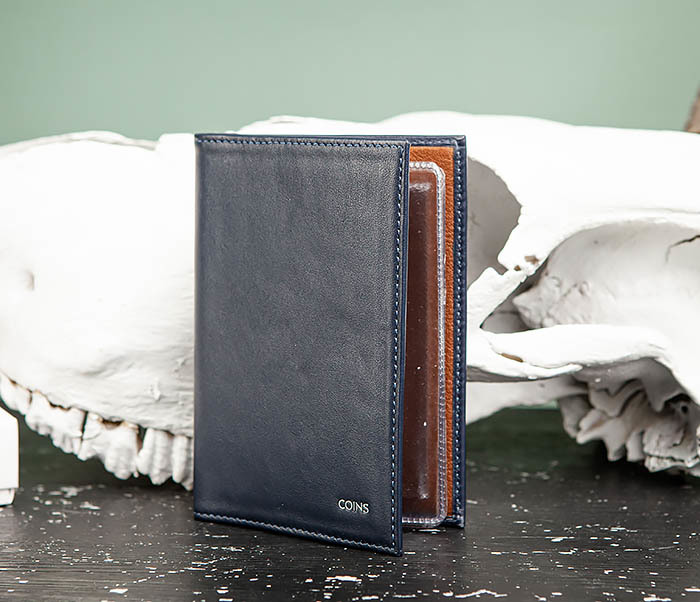BC217-3 Кожаная обложка для авто документов и карточек «Moriz», синяя фото 02