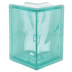 Угловой стеклоблок аквамарин окраска в массе Vitrablok 19x13x13x8