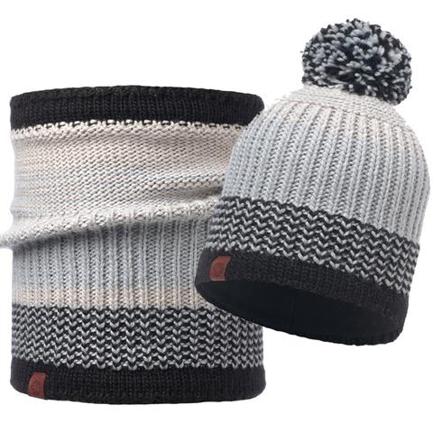 Комплект шапка шарф вязаный с флисом Buff Borae Grey 1