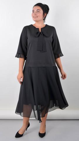 Касандра. Праздничное платье плюс сайз. Черный.