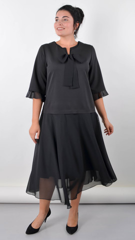 Касандра. Святкова сукня плюс сайз. Чорний.