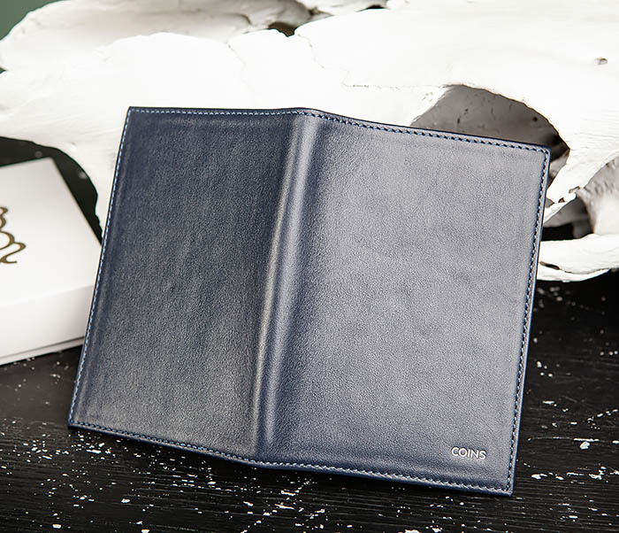BC217-3 Кожаная обложка для авто документов и карточек «Moriz», синяя фото 03