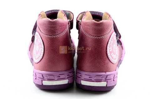 Ботинки Тотто из натуральной кожи на байке демисезонные для девочек, цвет фиолетовый. Изображение 7 из 11.