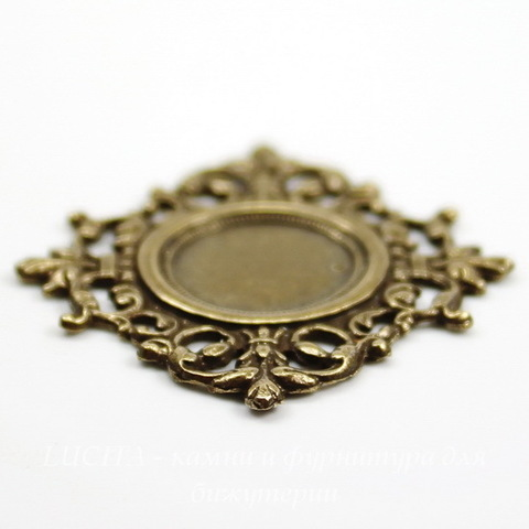 "Сеттинг - основа ""Флора"" для камеи или кабошона 13 мм (оксид латуни)"