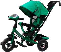 Детский трёхколёсный велосипед с ручкой и музыкой ( зеленый ) Sweet baby - колёса надувные