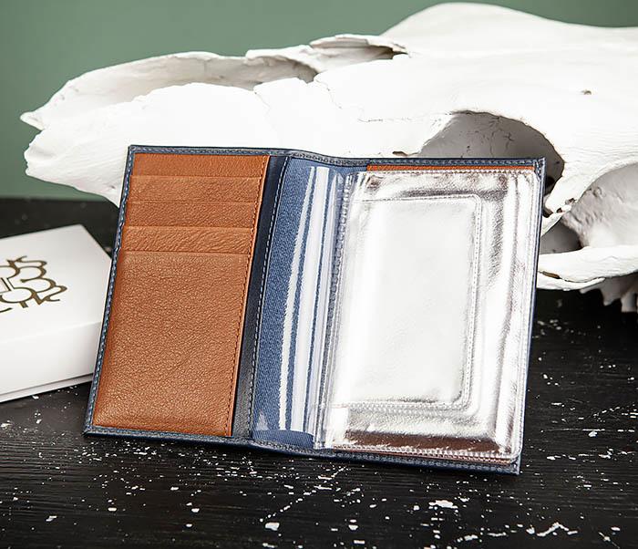 BC217-3 Кожаная обложка для авто документов и карточек «Moriz», синяя фото 04