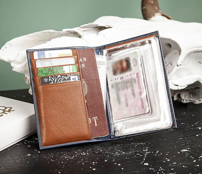 BC217-3 Обложка для авто документов и карточек «Moriz» из синей кожи фото 05