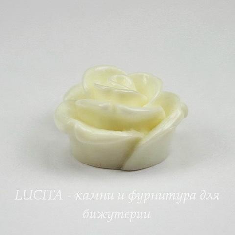 """Кабошон акриловый """"Розочка"""", цвет - белый, 18 мм"""