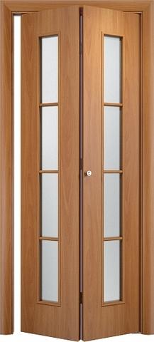 Дверь складная Верда С-14 (2 полотна), белое матовое, цвет миланский орех, остекленная