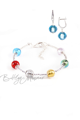 Комплект Carnavale Argento (голубые серьги на серебре, браслет)