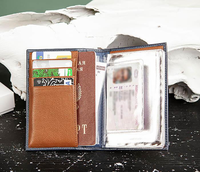 BC217-3 Кожаная обложка для авто документов и карточек «Moriz», синяя фото 06