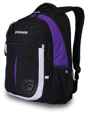 Качественный с гарантией прочный школьный рюкзак на молнии чёрный с фиолетовым и серебристым объёмом 22 л из полиэстера 600D с боковыми карманами для бутылок из эластичной сетки, эргономичной ручкой, системой поддержки спины Comfort Fit и дополнительным отделением с карманом для МР3-плеера и отверстием для наушников WENGER 13852915